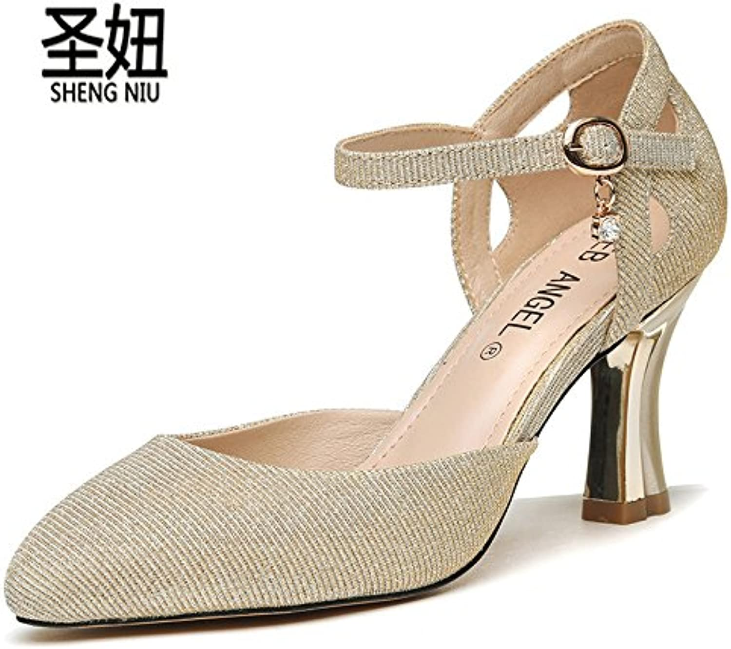 b91b9b220f47 KPHY Pointed Single Shoes Female Spring And Summer One One One Word Buckle  8Cm High Heel Shoes Hollow Shallow Mouth Thick... B07CWSHNMG Parent 9fa2ce