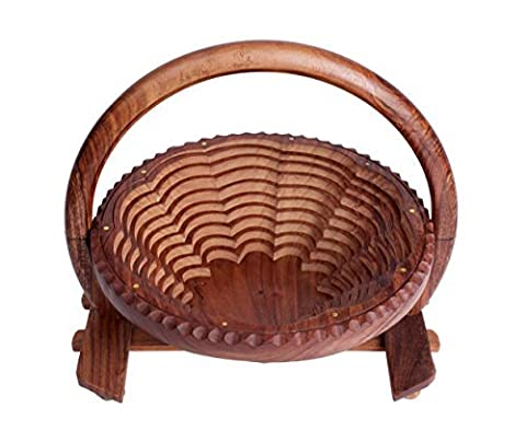 Christmas Gifts Elegant Hand Crafted Wooden Collapsible Fruit Bowl Bread Basket