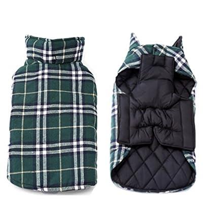 IREENUO Dog Reversible Plaid Coat Autumn Winter Warm Cozy Waistcoat British Style Dog Padded Jacket for Small Medium… 2