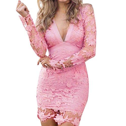 OVERDOSE Damen Schwarz Hoher Kleid Hals Hochgeschlossen Hoch Necked Langarm Paket Hüfte Dünnes Kleid (S, Y-D-Pink) (Top T-shirt Wings Pink)