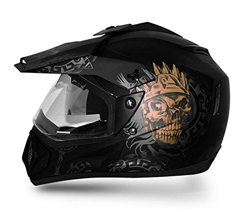 Vega Off Road Ranger OR-D/V-RGR-DKGL_M Full Face Graphic Helmet (Dull Black and Golden, M)