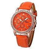 Relojes Pulsera Mujer, Xinan Relojes de Cuarzo de Cuero de Moda Banda Analógica (Naranja)