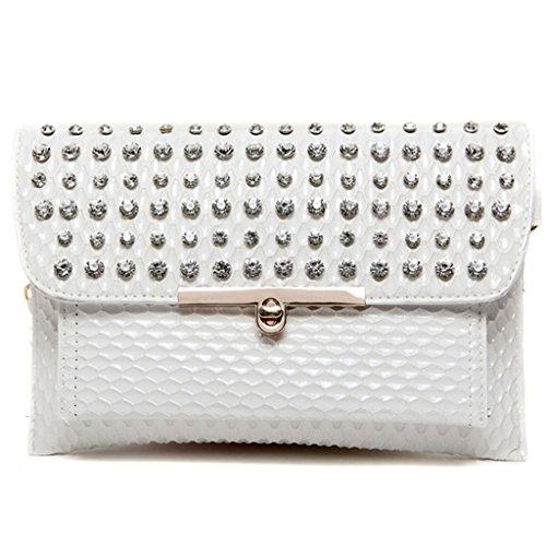 La grande capacità di nuova borsa autunno e inverno Messenger bag busta pochette borsetta diamante e pochette oro ( Colore : Bianca ) Bianca