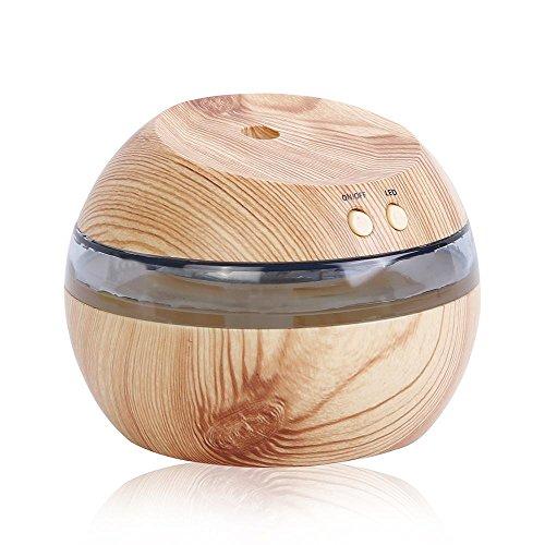Mettime 290ml Aroma Diffuser Ultraschall Luftbefeuchter Oil Düfte Humidifier mit blauem Licht,Mini Holz USB Luftbefeuchter,für Raum/Büro/Yoga/Spa/Auto/Zuhause , Leichte Holzmaserung -