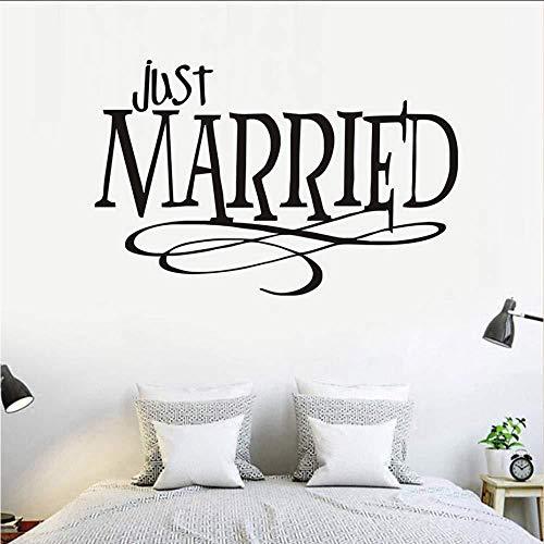 Just Married s WandaufkleberDesign Pvc Wasserdicht Abnehmbare Selbstklebende Wandaufkleber Für Auto Schlafzimmer Hochzeit Home Dekor 89X58 Cm