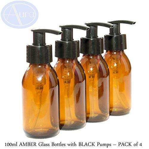 100ml botellas de cristal ámbar con negro bombas–Pack de 4