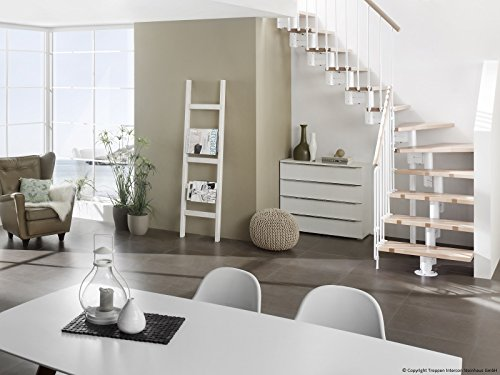 Intercon space-saving staircase Manhattan white 40 mm solid beech of 700 or 800 mm in width