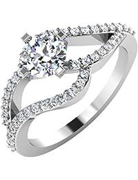 IskiUski White Gold And American Diamond Ring For Women - B075VHDH9W