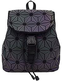 Bao Backpacks Women Geometric Shoulder Bag Students School Bag Hologram Lumenous Backpack Silver Backpack Mochilas