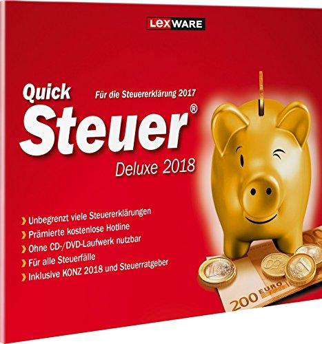 Lexware QuickSteuer Deluxe 2018 in frustfreier Verpackung, Einfache und schnelle Steuer-Software für die private und gewerbliche Steuererklärung, Kompatibel mit Windows 7 oder aktueller