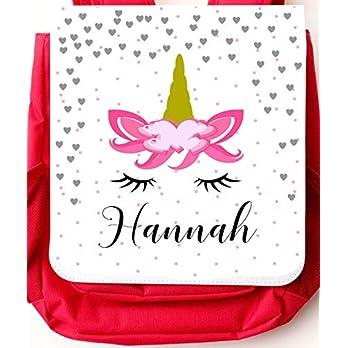 Kindergartenrucksack mit Einhorn für Mädchen – personalisiert mit Namen – mit Brustgurt/Kindergartentasche