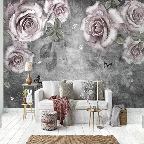 FLYYL Hand Ölgemälde Rose Blume Wandbilder Tapetenbahn Für Wohnzimmer Home Wall DecorLandschaft Floral Wandhauptdekoration,280X200CM -