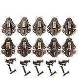 Lot de 10 loquets vintage de 48x 35mm pour coffre ou boite à bijoux