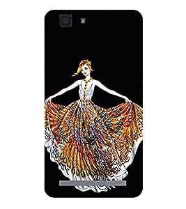 Girl with Colourful Dress Hard Polycarbonate Designer Back Case Cover for Vivo X5Max :: Vivo X5 Max