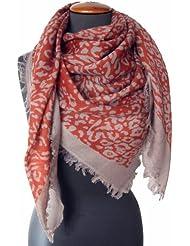 Nella-Mode Traumhaft feines & weiches Wolltuch Schal mit kurzen Fransen im Maxi-Format (ca. 115x115 cm) Leo-Design in Terracotta & Grau, Tuch Schultertuch aus 100% Wolle