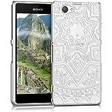 kwmobile Elegante y ligera funda Crystal Case Diseño sol azteca para Sony Xperia Z1 Compact en blanco transparente