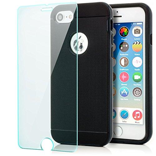 Coque + Verre trempé iPhone 7 / iPhone 8 Housse de Protection [Saxonia] Silicone Case Hybride TPU Slim Cover + Coque Bumper [Anti Choc] Noir Noir-Bleu foncé