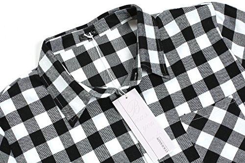 Coofandy Herren Hemd Langarm Kariert Freizeit Hemd Baumwolle Button-Down 24-Weiß