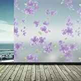 60X200cm Bathroom Door Bedroom PVC Frosted Glass Window Film Sticker Privacy Flower Waterproof Adhesive Glass Sticker Home Decor