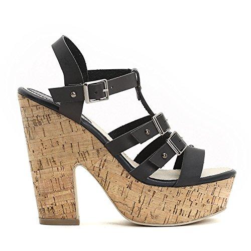 PRENDIMI by Scarpe&Scarpe - Sandalen mit Absatz, Doppelschnalle und T-Bar, mit Absätzen 12 cm Schwarz