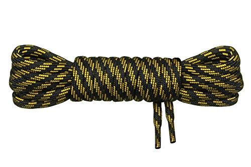 Di Ficchiano runde Schnürsenkel für Trekkingschuhe und Arbeitsschuhe - extra reißfest - ø 5 mm Farbe Schwarz-Gelb-m3- Länge 170cm