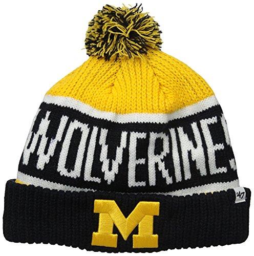 47 Brand Calgary Cuff Beanie Hat mit Pom Pom-NCAA Cuffed Knit Cap, Unisex Damen Jungen Herren, Michigan Wolverines - Blue1 -