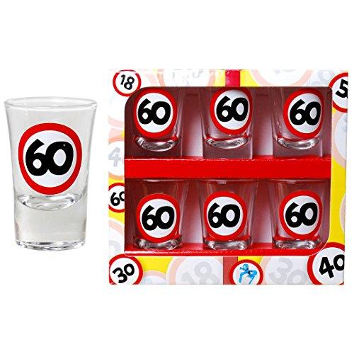 (Schnapsgläser zum 60. Geburtstag Scherzartikel Geschenk Gag Party Zubehör)
