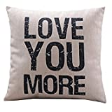 Nalmatoionme 17.3*17.3Inch White Love You More Pattern Cotton Linen Pillow Case Stuffing Cushion Cover