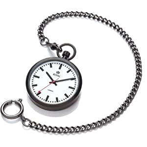 Open Face Black Stainless Steel Quartz Pocket Watch