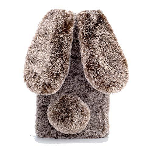 Nadoli Hase Pelz Hülle für iPhone 5S 5,3D Kaninchen Ohr Case Warme Winter Flauschige Plüsch Schutzhülle Handy Schale Tasche Soft Haut für iPhone SE 5S 5,Braun (5 Für Iphone Mädchen Soft-tasche)