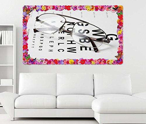 3D Wandtattoo Arzt Auge Augenarzt Brille Test Beruf Blumen Rahmen Wandbild Tattoo Wohnzimmer Wand Aufkleber 11L784, Wandbild Größe F:ca. 97cmx57cm