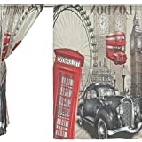 Clothes Old Navy Best Deals - jstel 2pcs Voile cortina de ventana, Vintage London Old Car, tul pura cortina Drape cama 55x 78(dos paneles Set, poliéster, azul, 55x84x2(in)