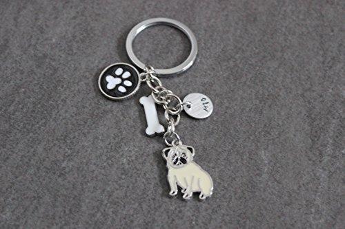 Schlüsselanhänger Hund Mops mit Namens-Gravur