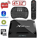 X96 Max Android 8.1 TV Box 4K Boîtier TV 【4GB RAM+32GB ROM +Clavier Mini Clavier sans Fil (AZERTY)】 USB 3.0 BASKER Smart TV Box, Android Box avec HD/H.265 / 4K / 3D / BT4.1/2.4G 5G WiFi