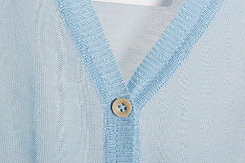 Bogood 3/4 Aermel One Size Loose Fit Damen Outwear Strickpullover Oberteil Gestrickt Shirt Hellblau