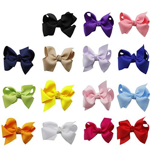 ZhengYue 15 Farben Boutique Haar Bögen Girls Kids Alligator-Clip Grosgrain Ribbon Haar-Clips