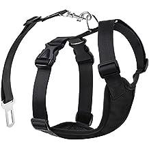 Pawaboo Cinturón De Seguridad de Perro - Adjustable Vest / Malla Harness Car Safety para Mascota Chaleco de Correa con Seat Belt Lead Clip de Coche, Adecuado para Perros de 4.4 LBS - 11 LBS, Talla S, Negro