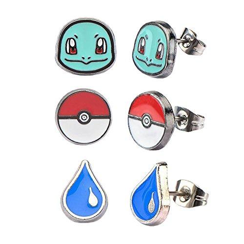 Pokemon Ohrstecker Pokeball Schiggy Water Drop 3er Set emailliert Edelstahl -