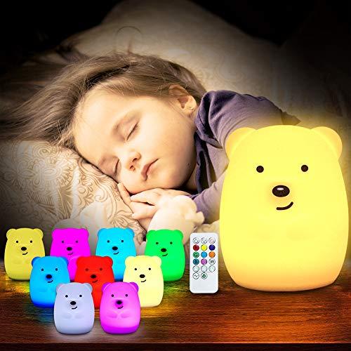EBES Lámpara de Noche Bebé Lámpara Infantil Regalo para los Niños Bebés Luz de 9 Colores Multicolor Remoto Recargable