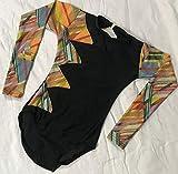 Flexifit Competition Gymnastics Yoga Aerobics Leotard Black & Color Glitter Pattern Size 38