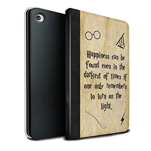 Stuff4® PU-Leder Hülle/Case/Brieftasche für Apple iPad Mini 4 Tablet/Happiness/Darkest Times Muster/Schule der Magie Film Zitate Kollektion