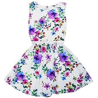 5a216e99e22c5 Girls Skater Dress Kids Flower Print Belted Dress New Look Fashion Summer  Dress White 13 Years