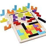 B&Julian ®Tetris Holz Tangram Kinder Spiel bunt Holzpuzzle geometrisch Formen mit Box Knobelspiel
