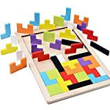 B&Julian ®Tetris Holz Tangram Kinder Spiel bunt Holzpuzzle geometrisch Formen mit Box Knobelspiel (1er Pack)