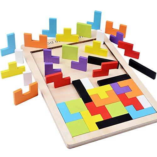 B&Julian ® Holzpuzzle Tetris Tangram Kinder Steckspiel Legespiel bunt Holz geometrisch Formen und Farben mit Box Knobelspiele (1er Pack)