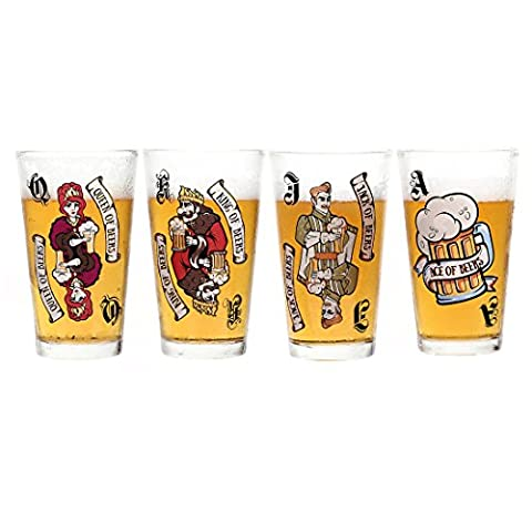 Avery Barn 16 oz Pint Glasses - Casino Night Poker Blackjack Party Supplies Color Changing Playing Card Pub Beer Drinking Glassware - Gift for Him - Set of