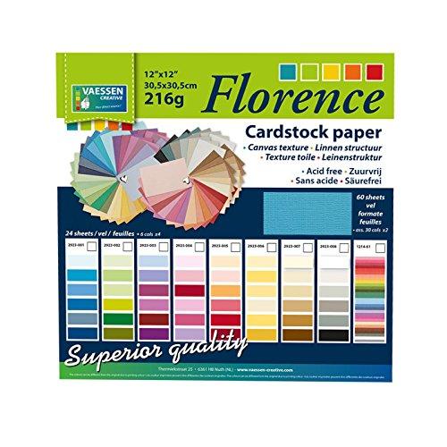 4-61 Florence Scrapbook-Papier Cardstock x 60 Blatt, Leinwand-Struktur, mehrfarbig, 30.5 x 30.5 x 1 cm (Farbigen Cardstock)
