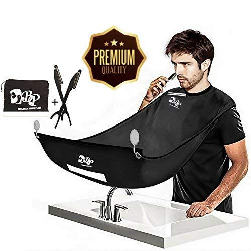BELINIA PRESTIGE - Tablier de barbe avec pochette intégrée de qualité + 2 rasoirs...
