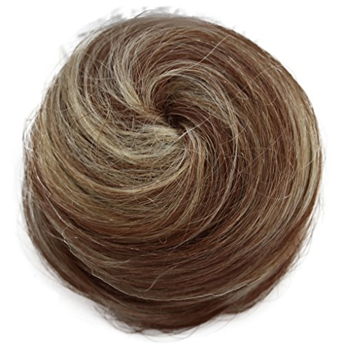 PRETTYSHOP 100% pelo real cabello humano Moño, Postizo, Trenza, Moño de estilo Hepburn, Coletero, Peinado alto, varios colores H311j