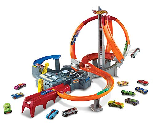Hot Wheels CDL45 Action Mega Crash Superbahn, Trackset mit Loopings und Kurven -